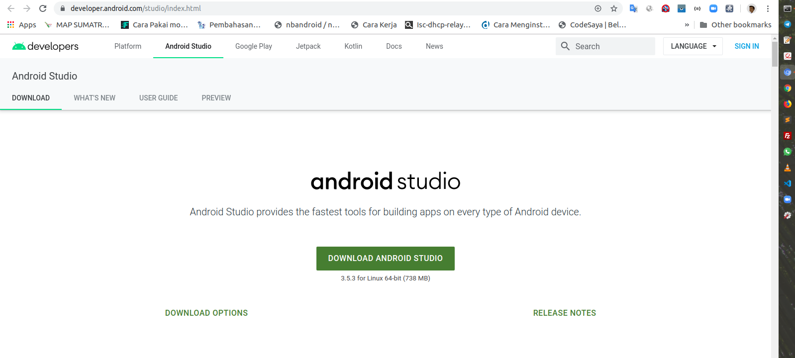 Download Android Studio For Linux