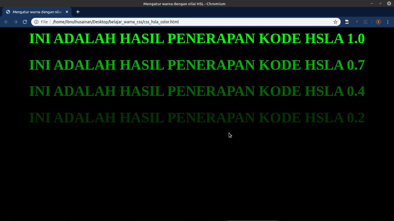 hasil penerapan kode HSLA