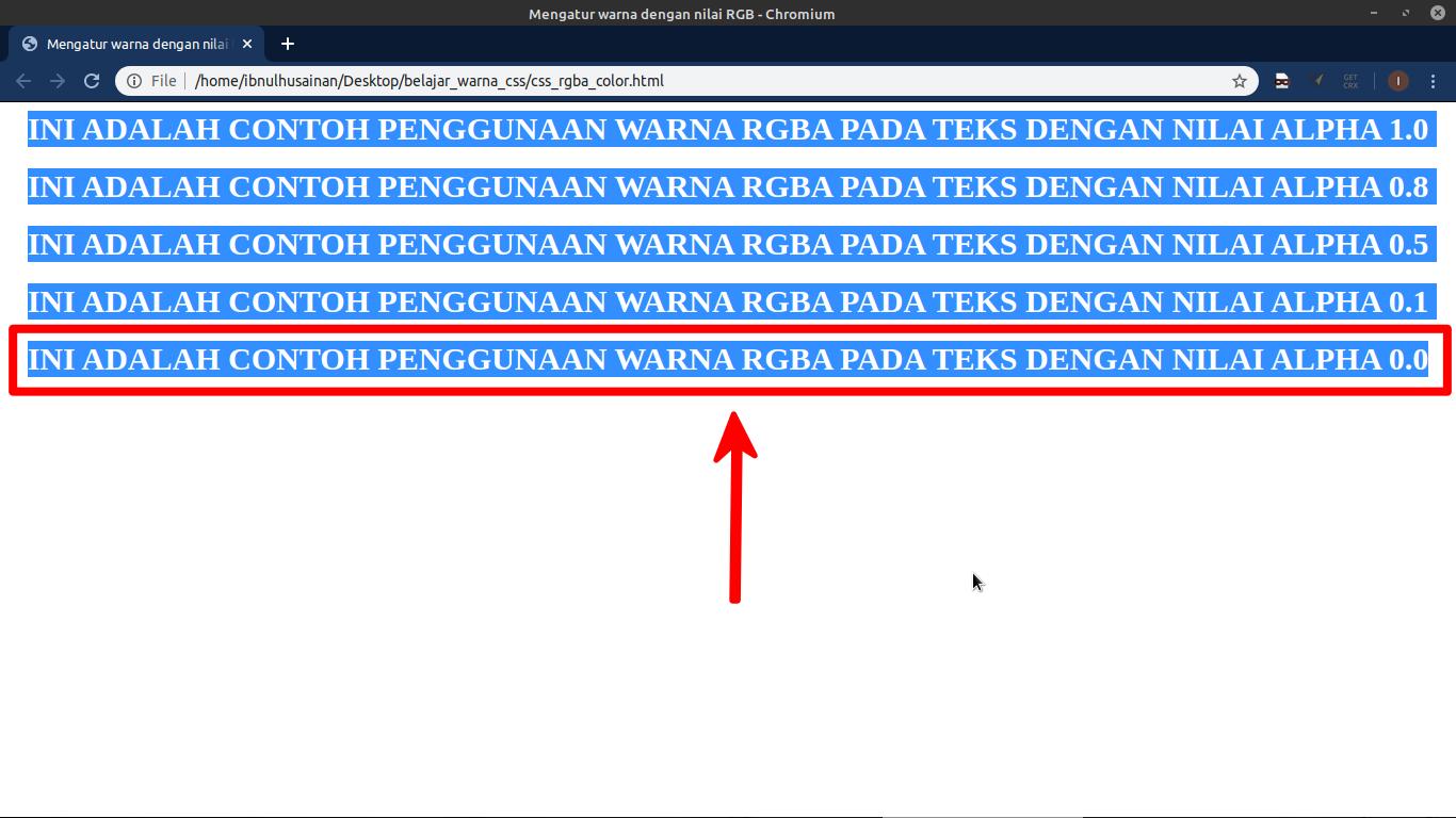 menemukan tulisan transparan pada hasil penerapan kode RGBA